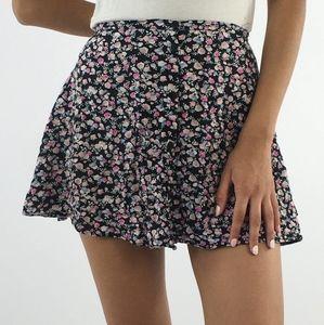 H&M Floral Button Front Flowy Mini Skirt